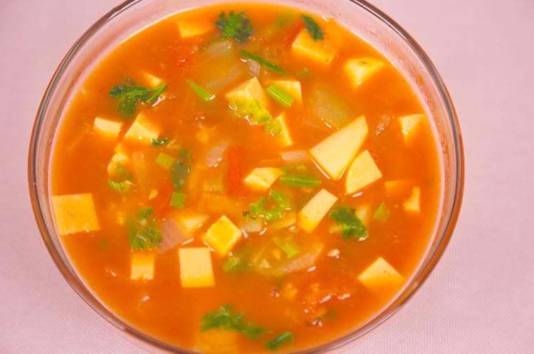 香菇鸡肉蛋花胡辣粥&素食罗宋汤