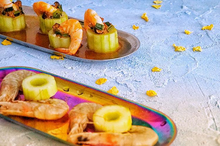 黄瓜蒸虾仁&柠檬薄荷绿茶