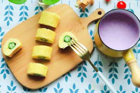 宝宝辅食·秋葵厚蛋烧+紫薯燕麦奶昔