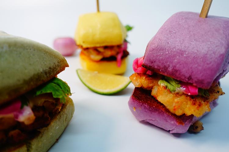 迷你虾饼刀切三明治