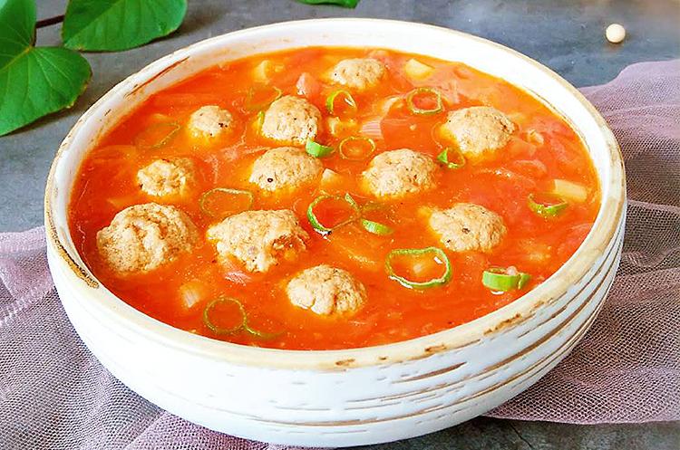 番茄牛肉丸+豌豆炒虾仁