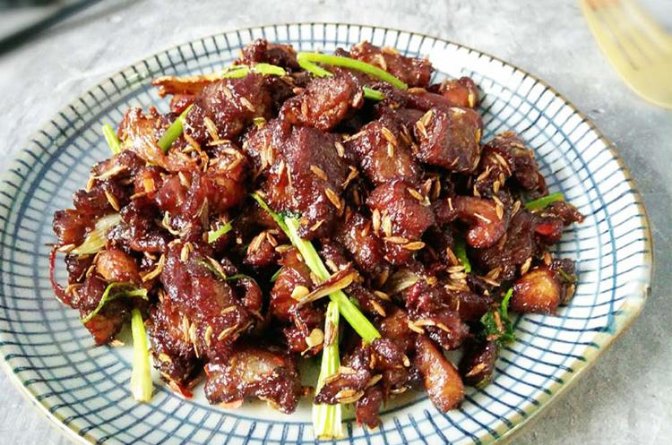 红烧羊小排+炒烤孜然羊肉