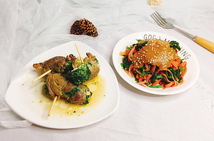 菠菜猪肉卷&和风芝麻菠菜