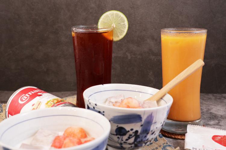 椰浆红宝石芋头甜汤+泰式柠檬红茶+泰式奶茶