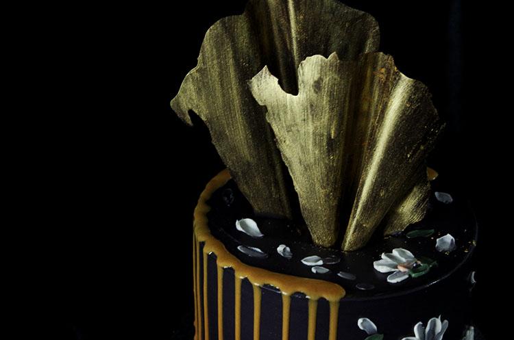 新款裱花蛋糕(三)金色巧克力淋面蛋糕