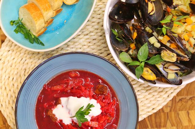 俄罗斯甜菜汤+意大利淡菜海鲜烩