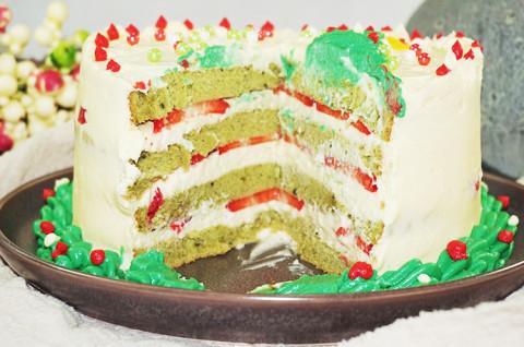 手绘圣诞树抹茶草莓蛋糕