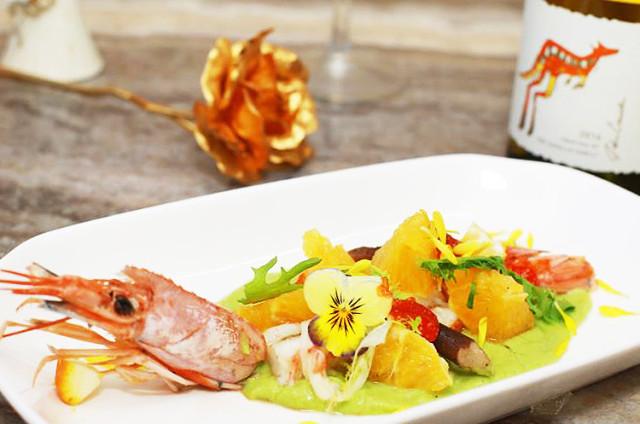 鱼子酱橙味红虾卷