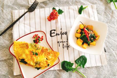 菠菜菌蔬起司欧姆蛋&日式虾酱芒果菠菜